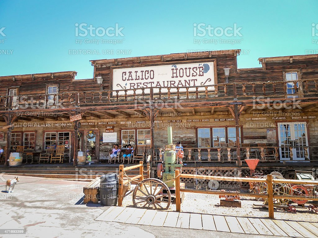 Old saloon on calico ghost town - california stock photo