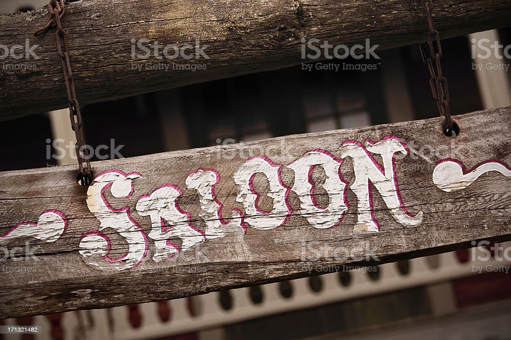 Old saloon sign stock photo