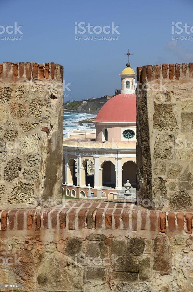 Old San Juan Wall and Chapel stock photo
