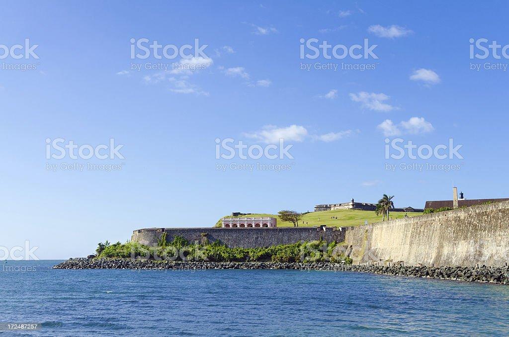 Old San Juan Wall and El Morro in Puerto Rico stock photo