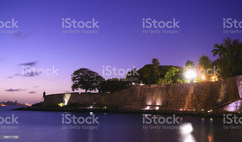 Old San Juan Wall in Puerto Rico at night stock photo