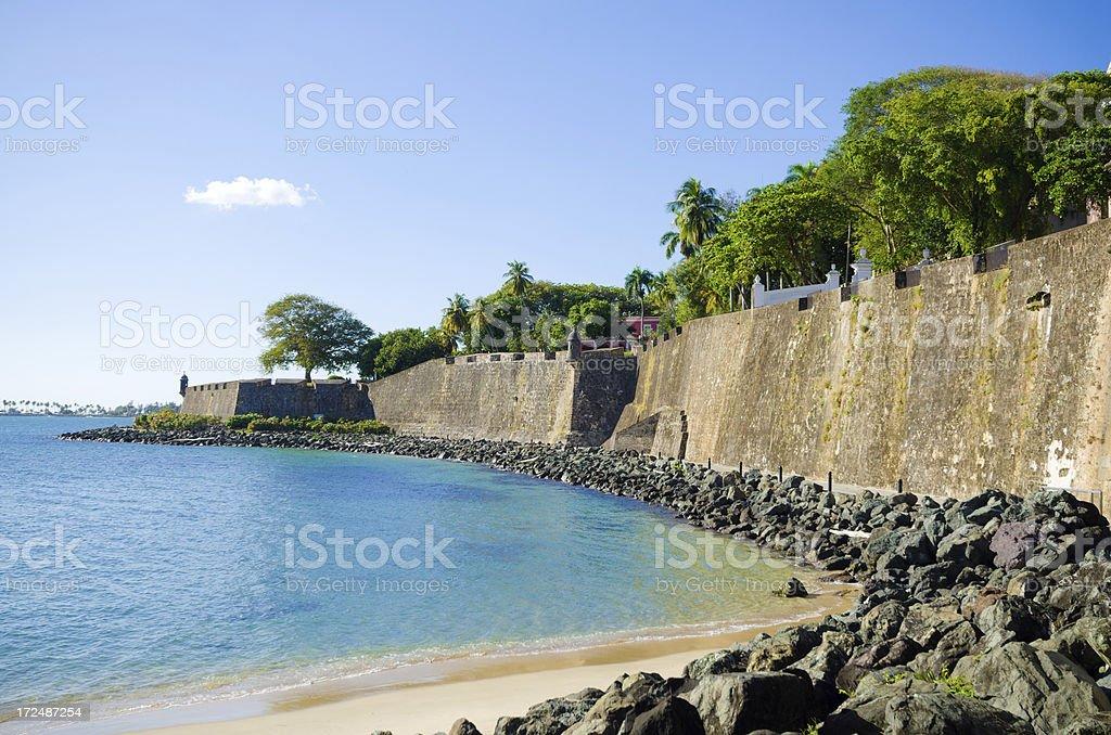 Old San Juan Wall in Puerto Rico stock photo