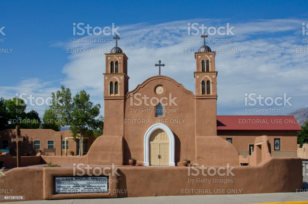 Old San Miguel Mission in Socorro, New Mexico stock photo