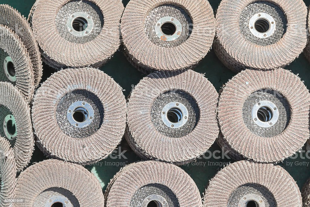 Old sanding discs for grinding stock photo