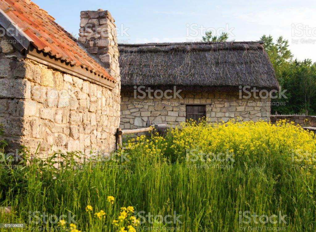 Old sandstone houses. stock photo