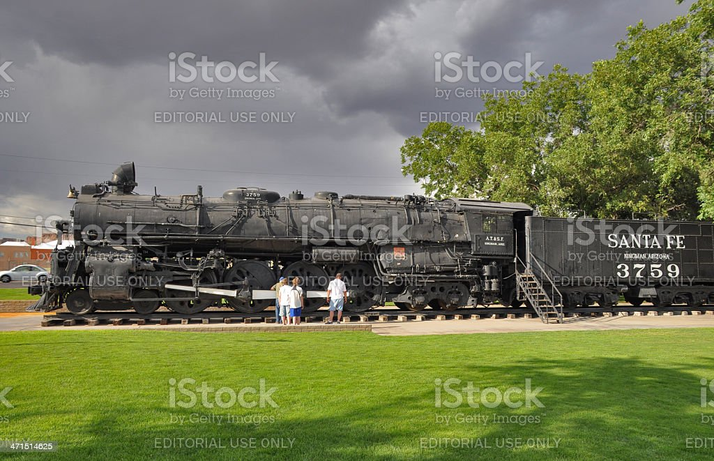 Old Santa Fee Express steam locomotive stock photo
