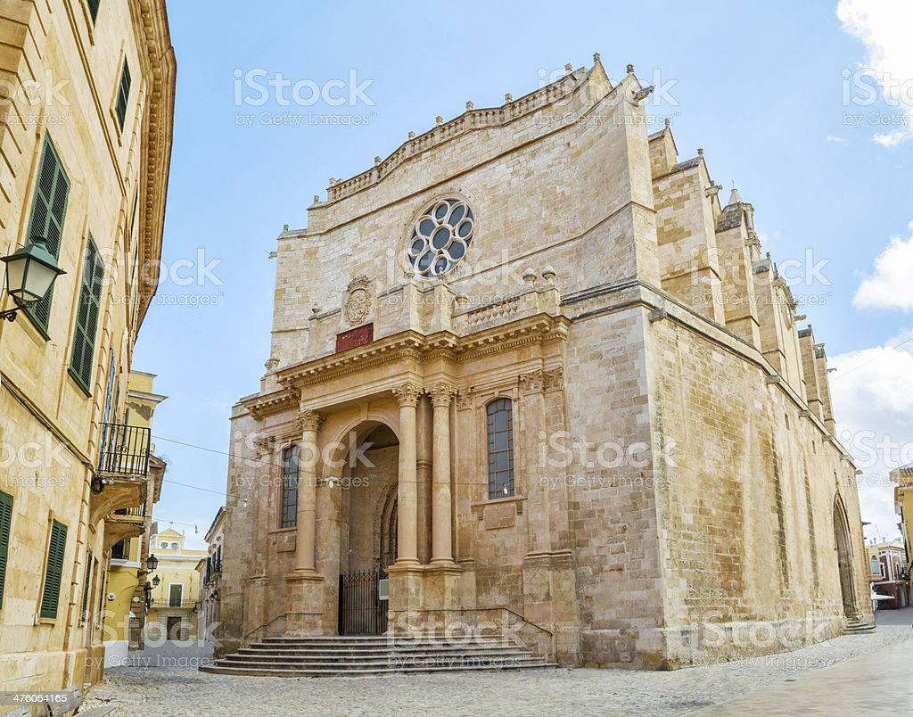 Old Santa Maria Cathedral at Ciutadella. stock photo