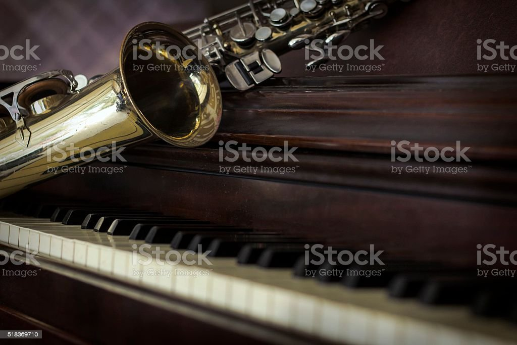 Old Saxophone Piano stock photo