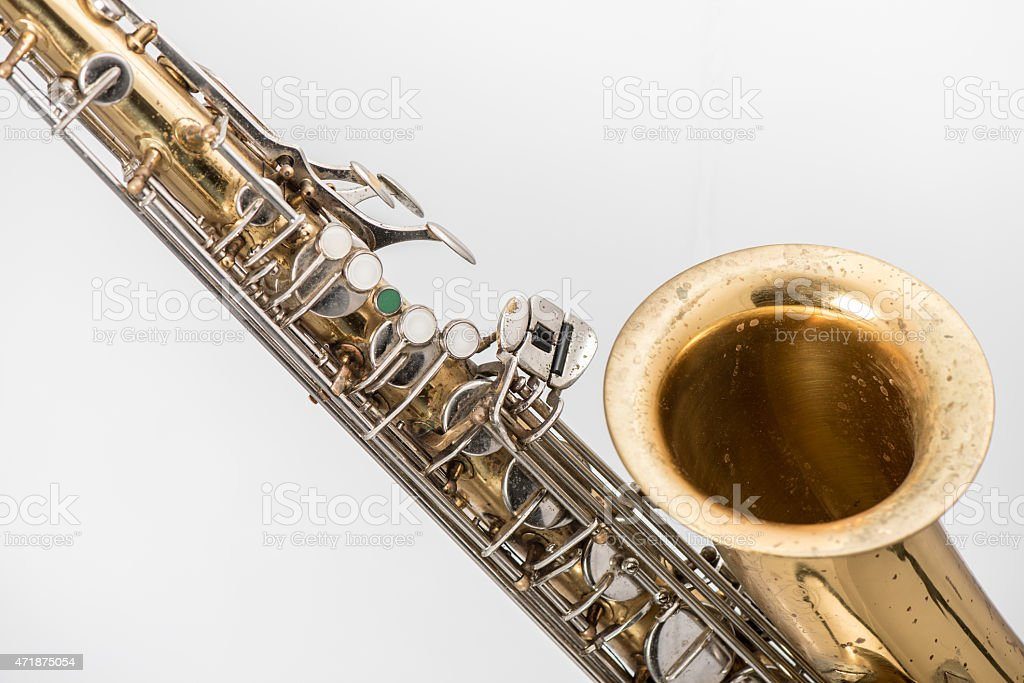 Old saxophone. stock photo