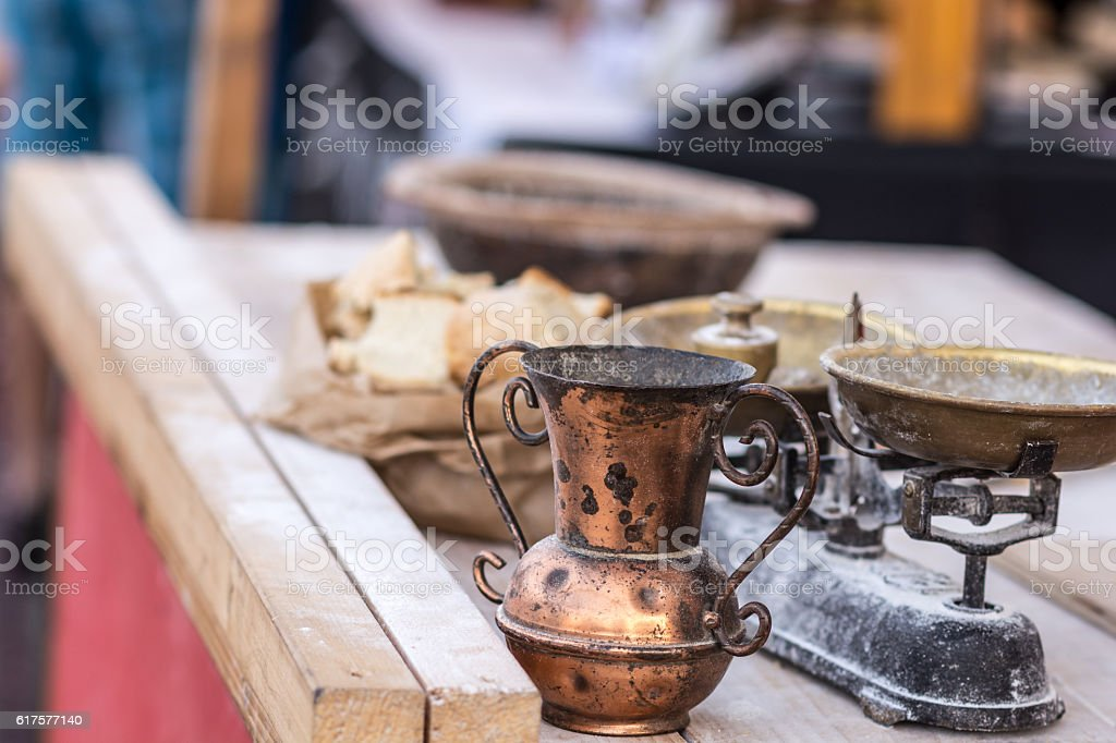 Old scale to weigh bakery products stock photo