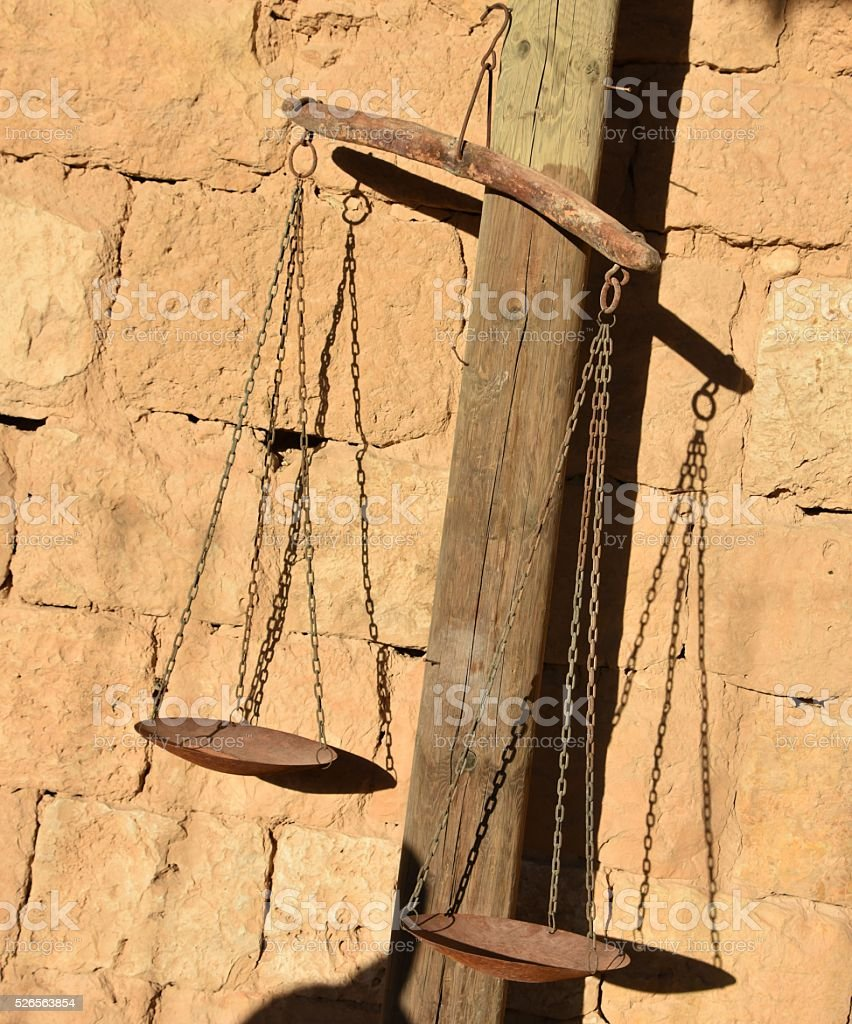 Old scales of justice stock photo