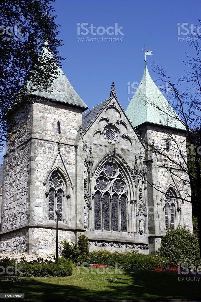Old Scandinavian Stone Church stock photo