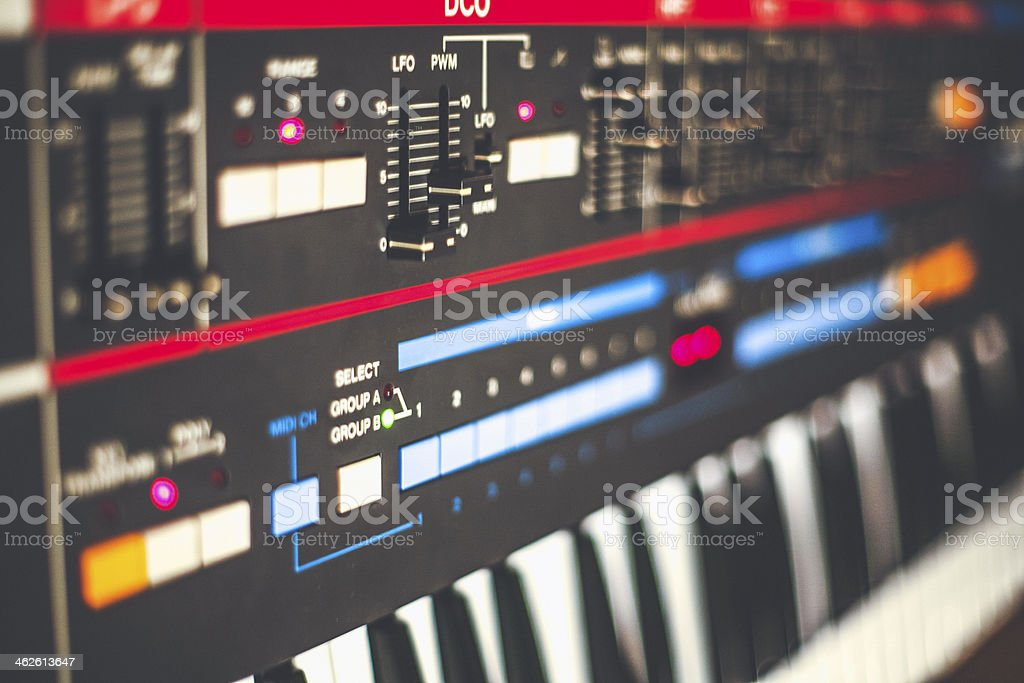 Old school analogue synthesizer. stock photo