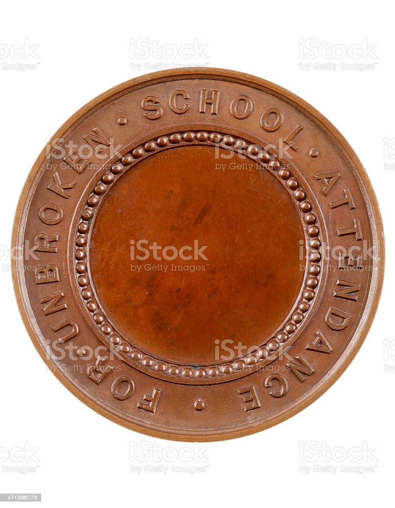 Old School Attendance Medal With Copy Space stock photo