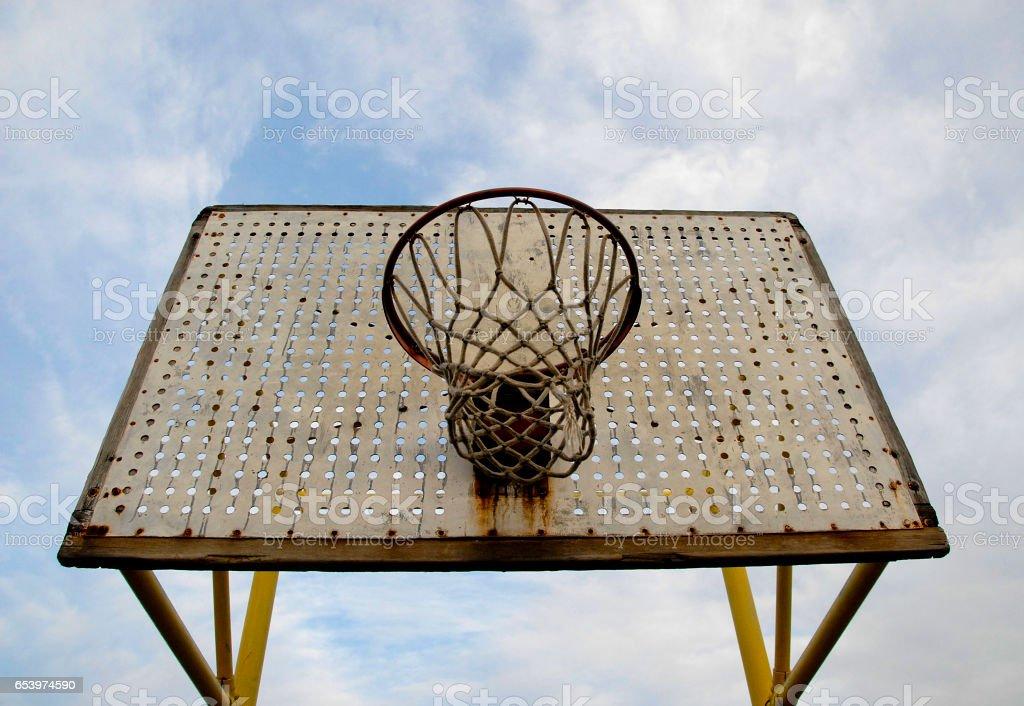 Old School Basketball Net and Backboard stock photo