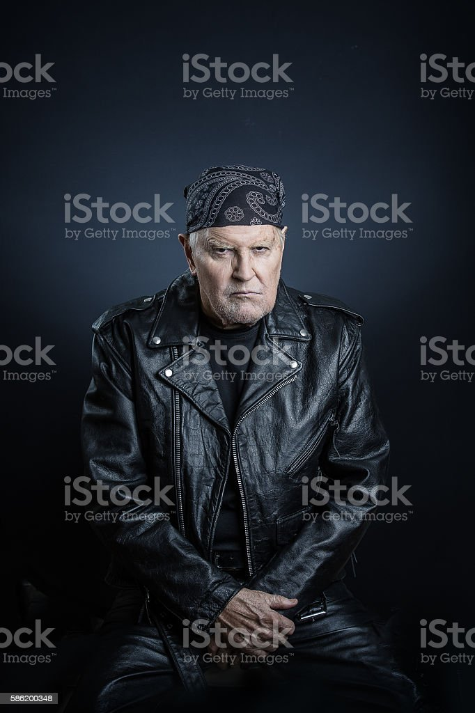 Old school biker stock photo