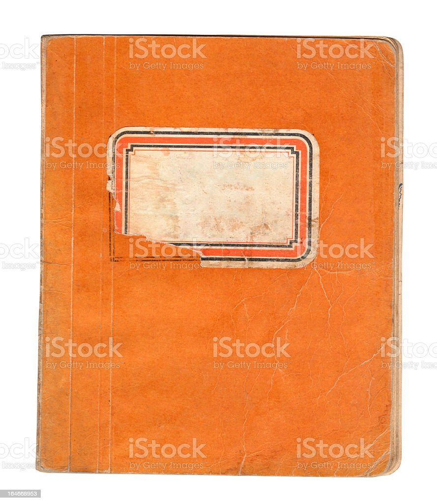 Old school book on white background, includes clipping path royalty-free stock photo