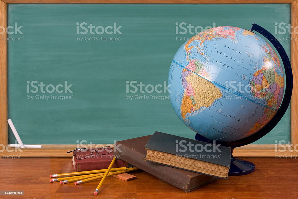 Old school books on a desk royalty-free stock photo