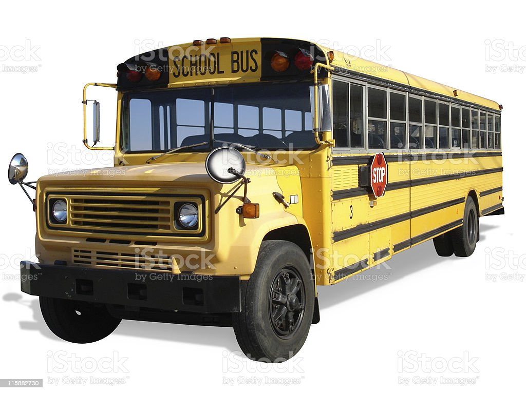 Old School Bus Cutout royalty-free stock photo