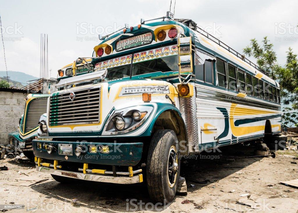 Old school bus in Guatemala stock photo