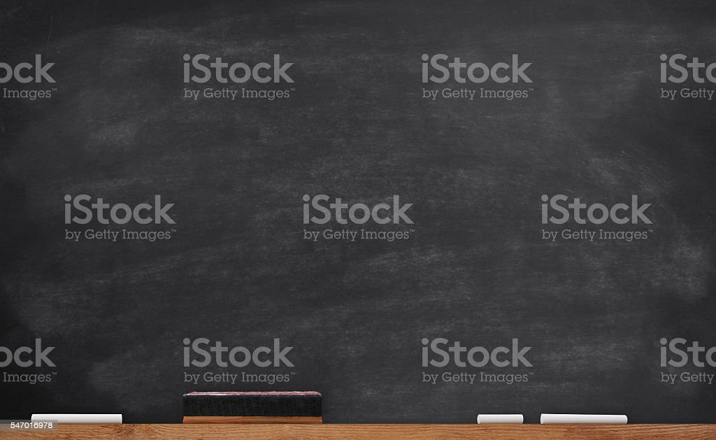 Old School Chalkboard with chalks and eraser - Back To School Theme
