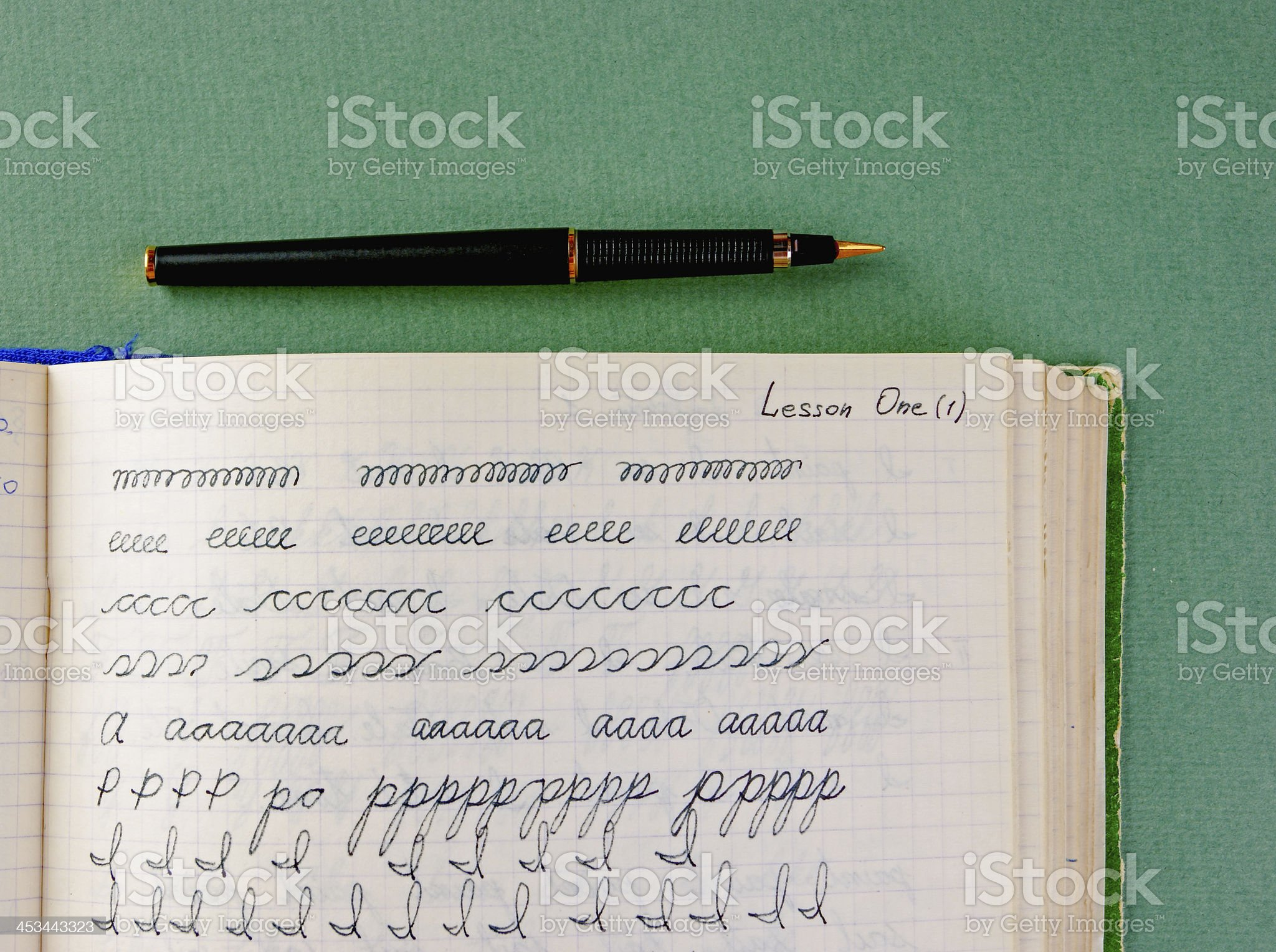 old school exercise book in English royalty-free stock photo