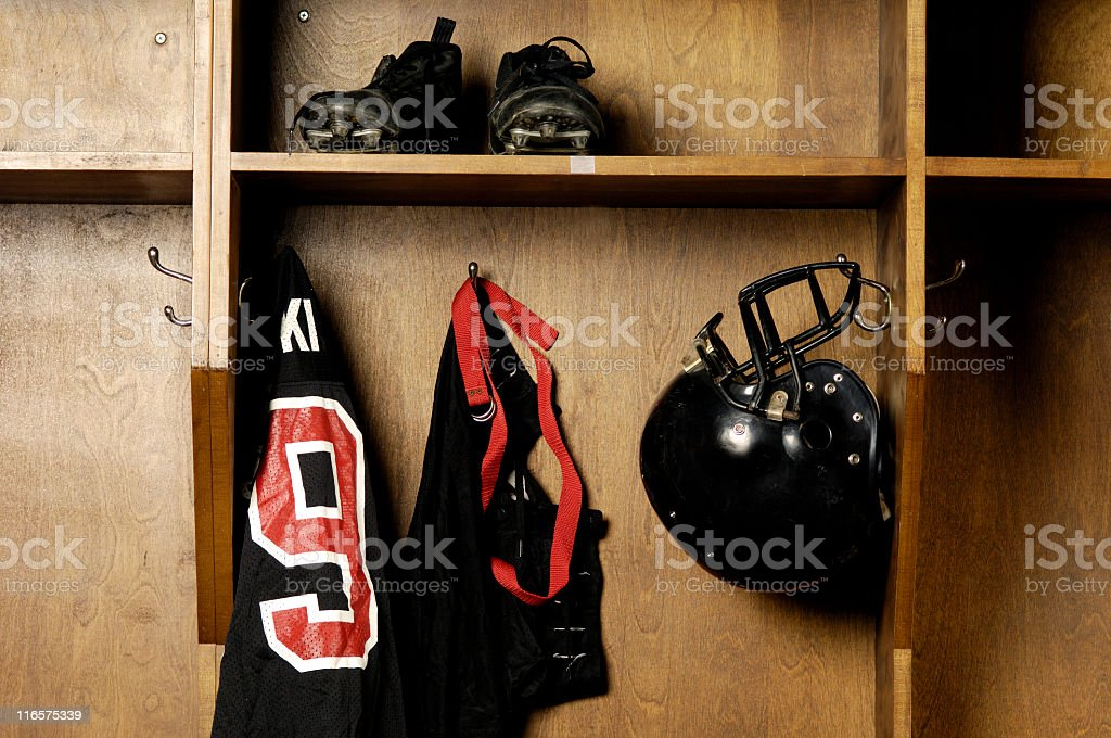 Old school Football locker room royalty-free stock photo