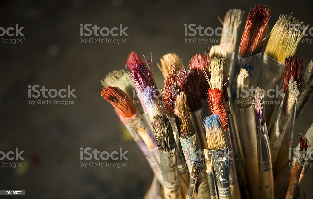Old School Paintbrushes royalty-free stock photo