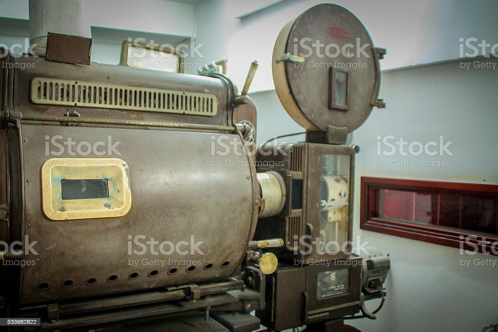old école pression photo d'un vieux Projecteur de cinéma. photo libre de droits