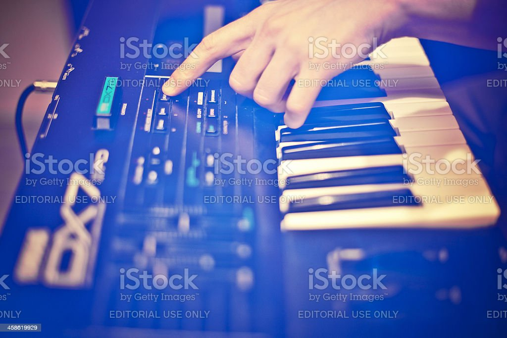Old school synthesizer. stock photo