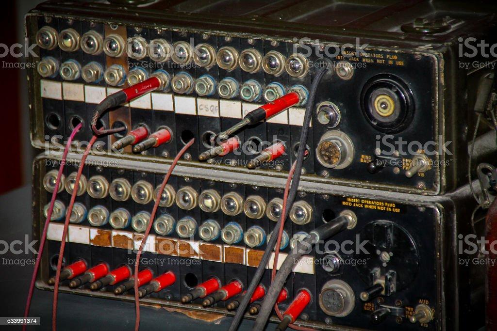 Vieille école de télécommunication système de contrôle audiovisuel photo libre de droits