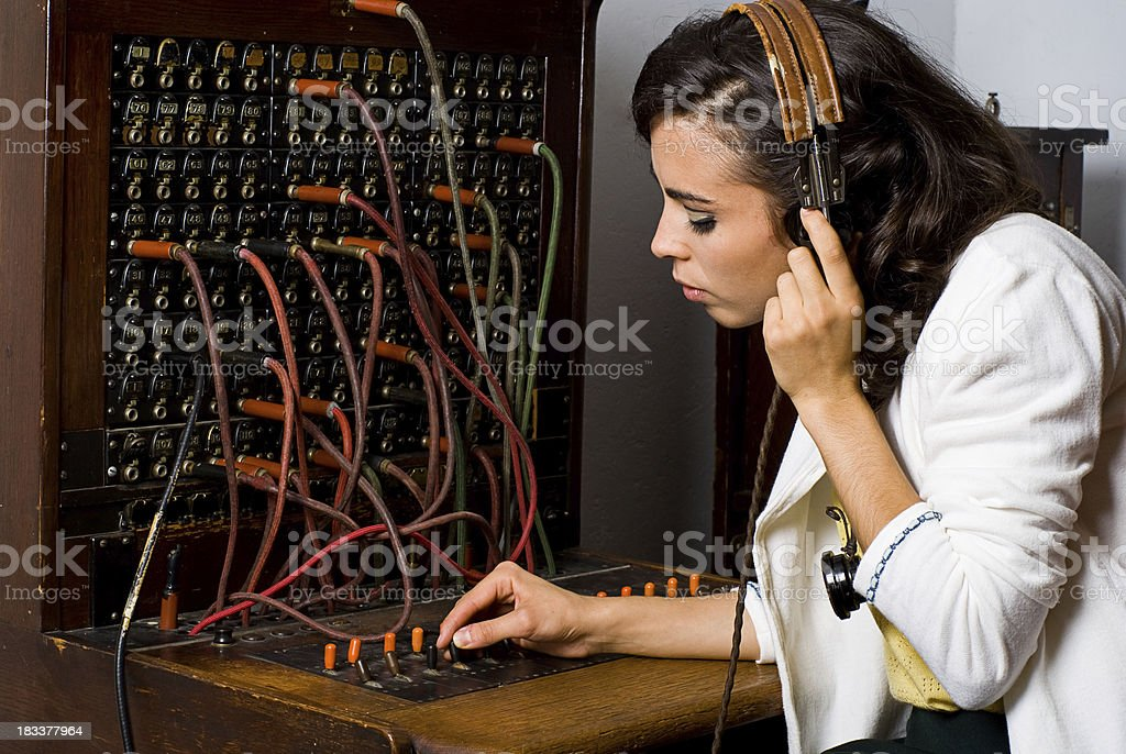 Old School Telephone Operator stock photo