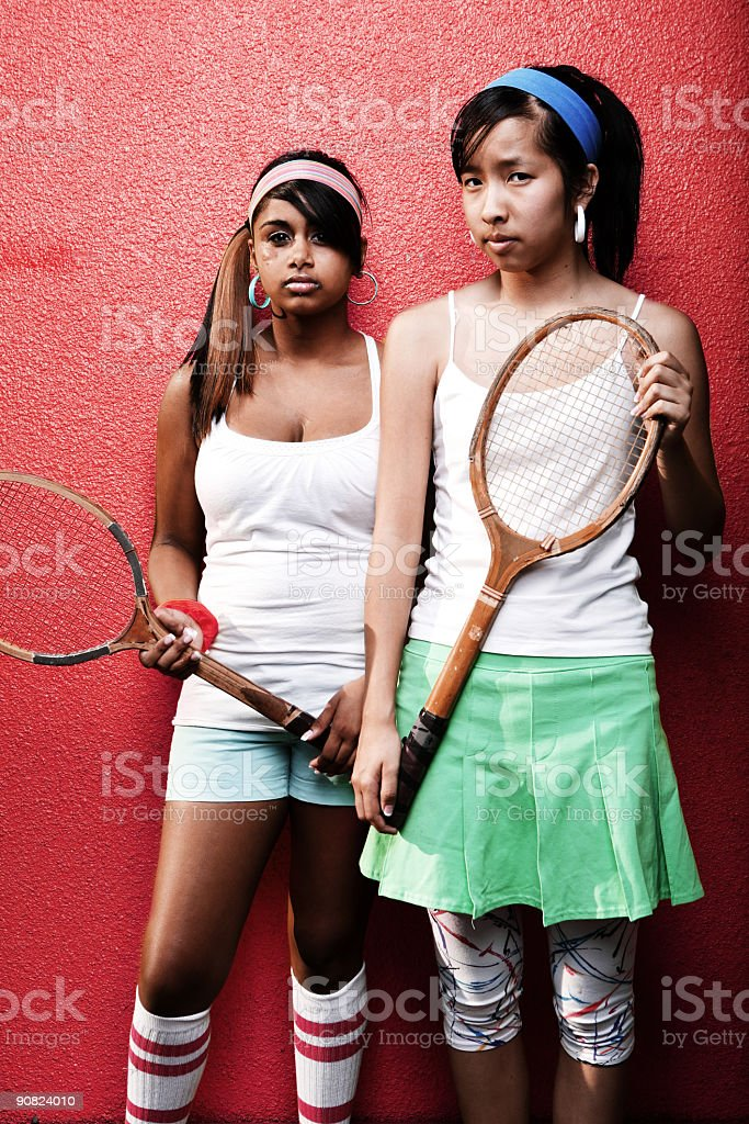Old School Tennis Players royalty-free stock photo