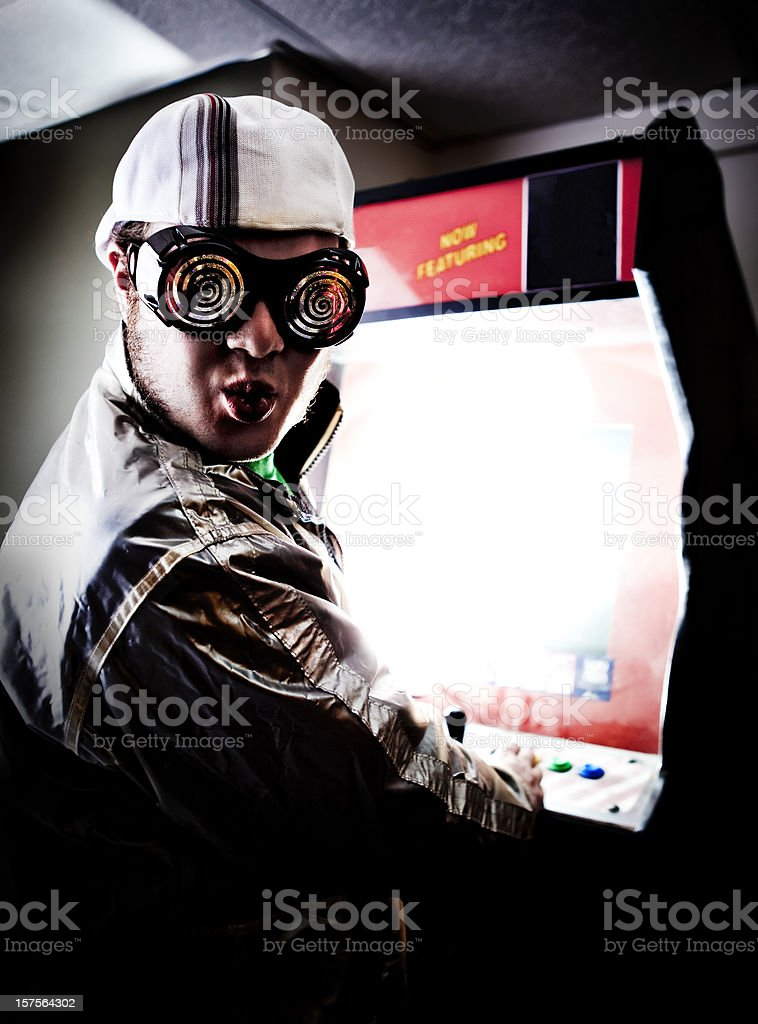 Old School Video Gamer royalty-free stock photo