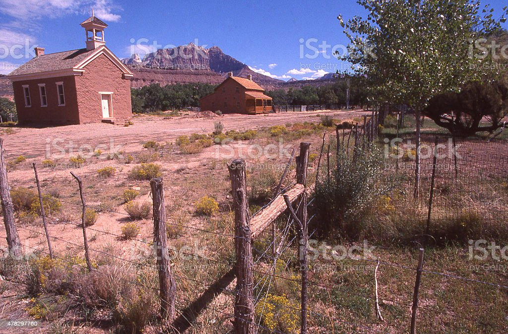 Old Schoolhouse and Russell House Grafton Ghost Town Rockville Utah stock photo