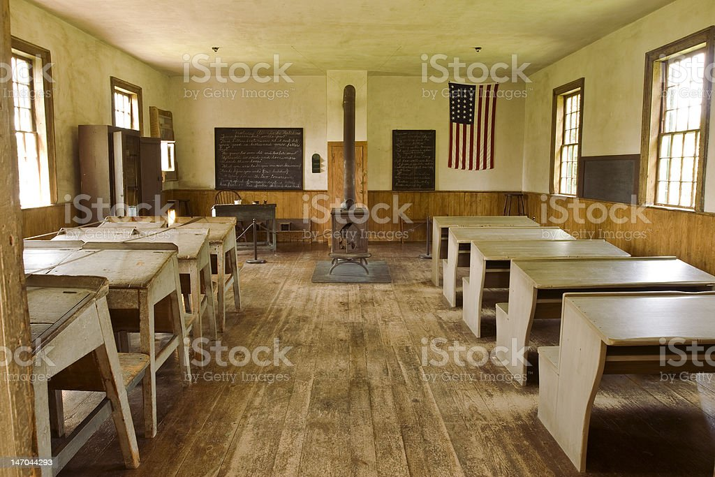 Old Schoolhouse Classroom (Interior) stock photo