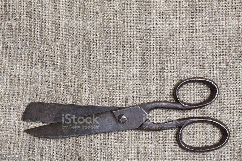 Old scissors on canvas background royalty-free stock photo