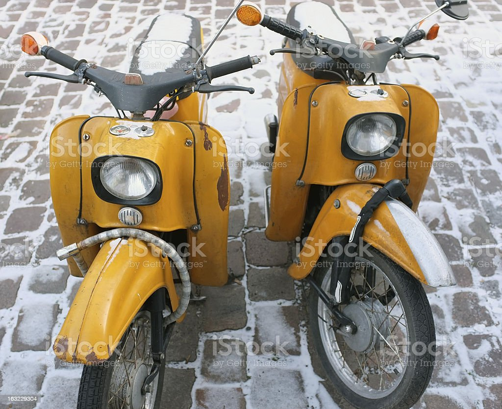 Old scooters from East Germany stock photo
