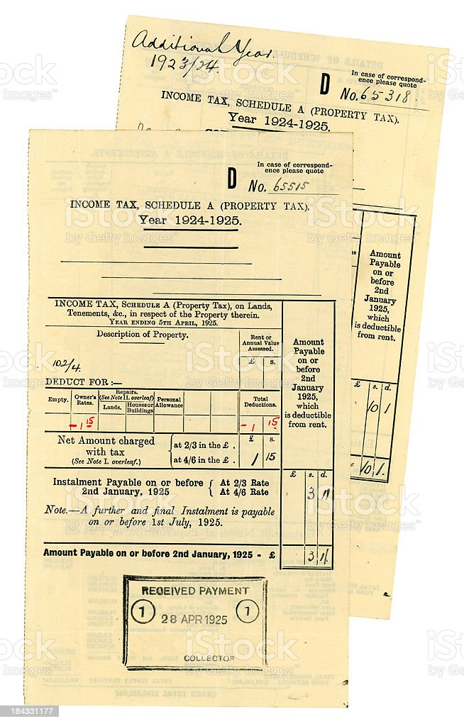 'Old Scottish Schedule A Property Tax bills, 1923-5' stock photo