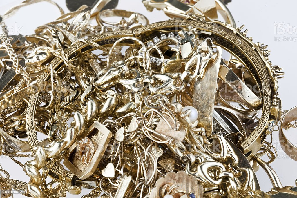 old scrap gold stock photo