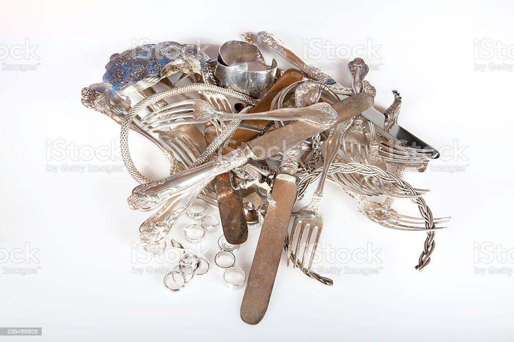 old scrap sterling silver for the refinery stock photo
