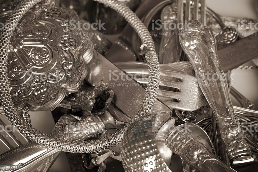 old scrap sterling silver stock photo