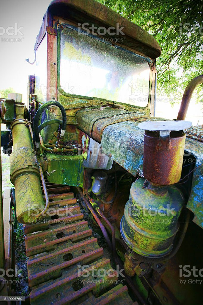 Old scrapped caterpillar stock photo