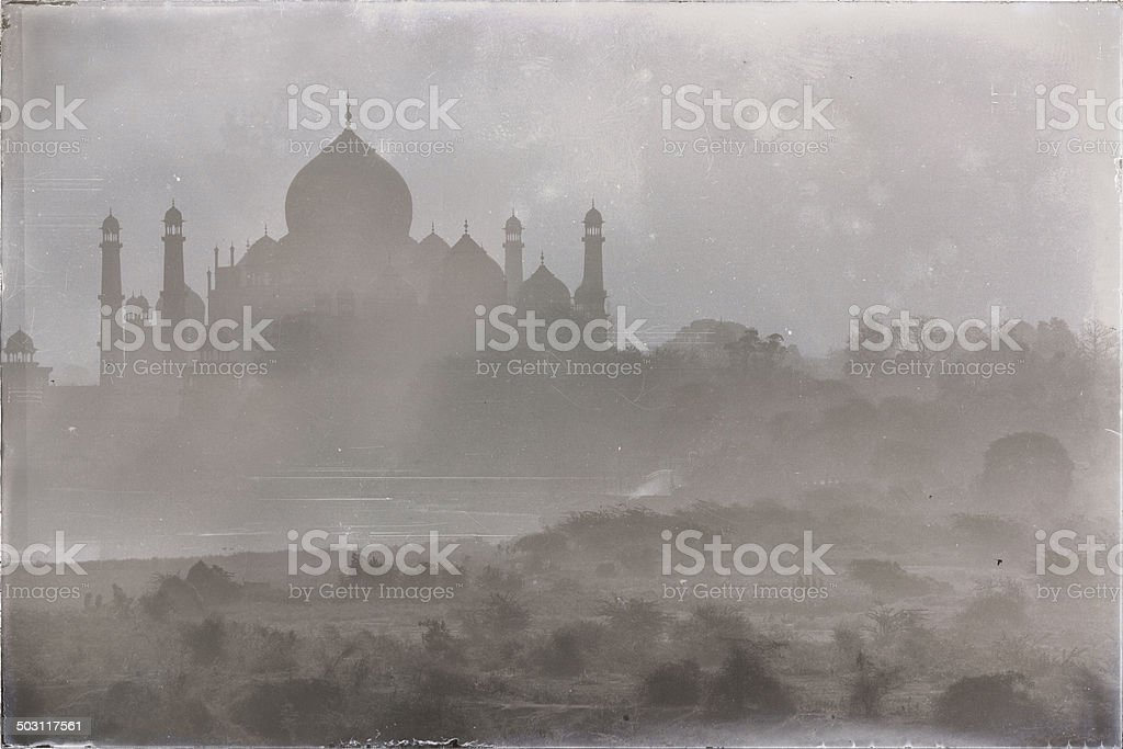 Old, scratched, textured image of Taj Mahal, Agra, India stock photo