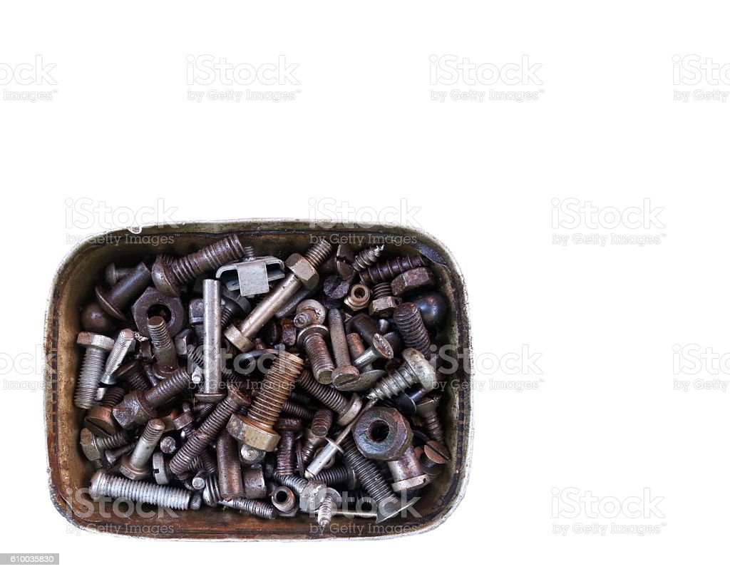 Old screws in a can stock photo