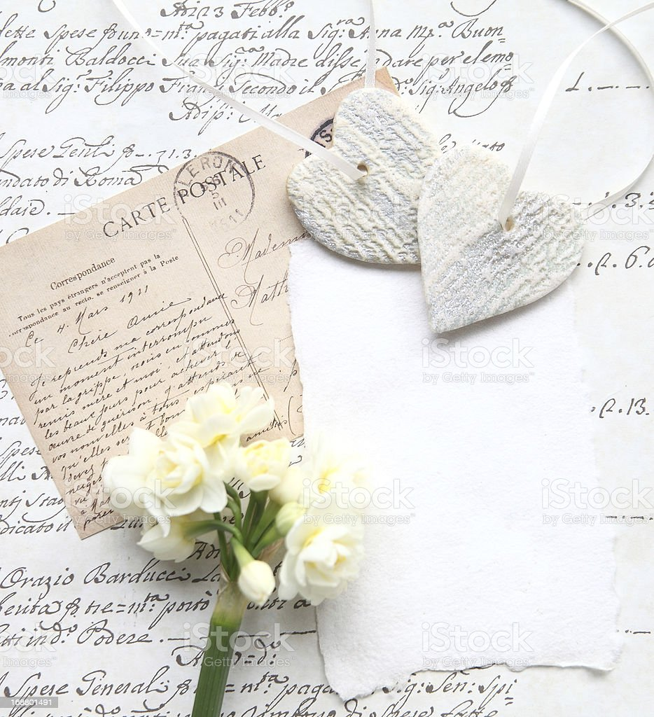 old script with flowers and hearts royalty-free stock photo