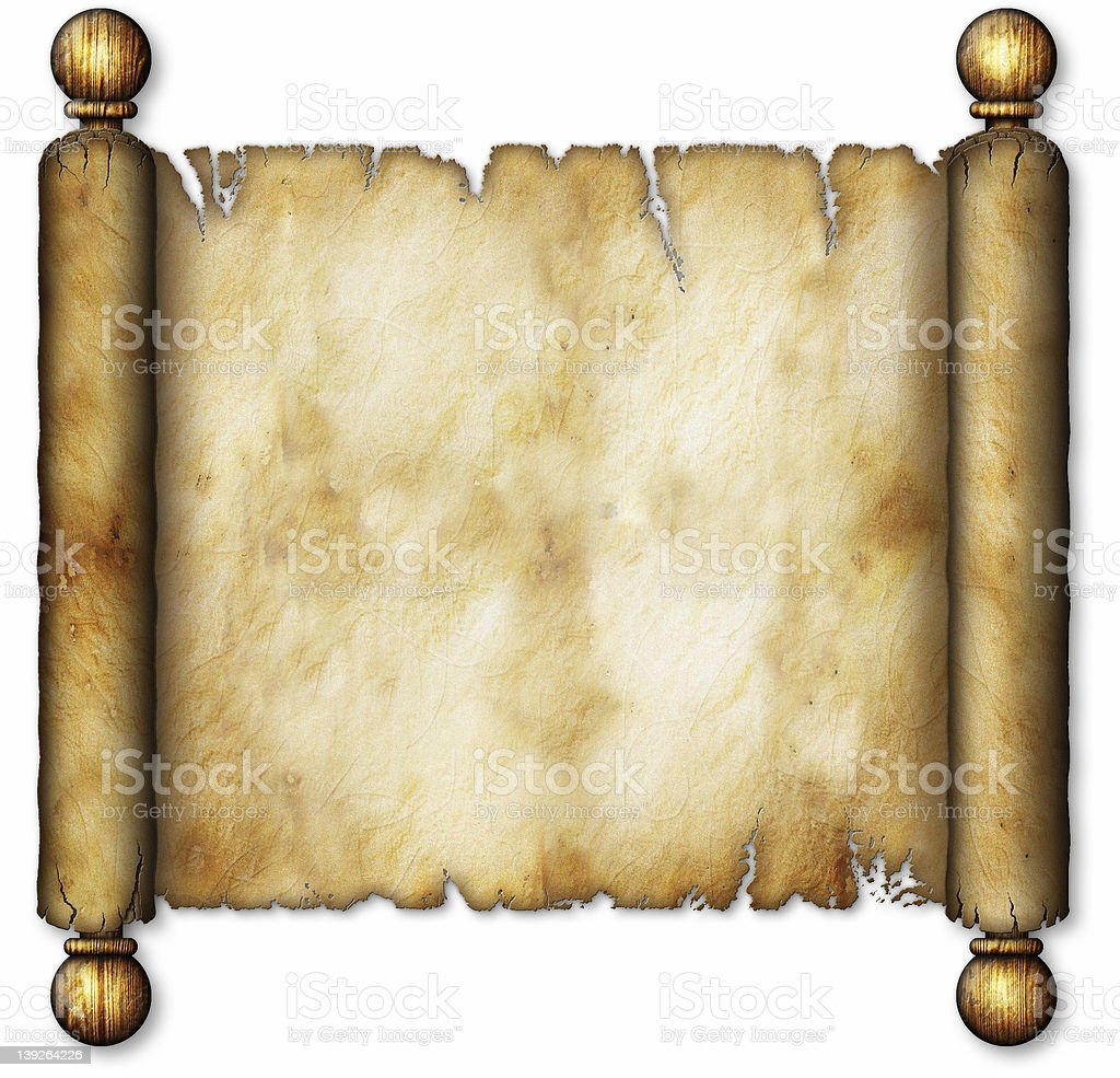 Old Scroll on Wooden Spindles royalty-free stock photo
