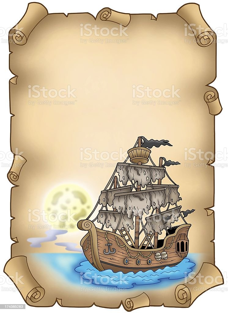 Old scroll with mysterious ship royalty-free stock photo