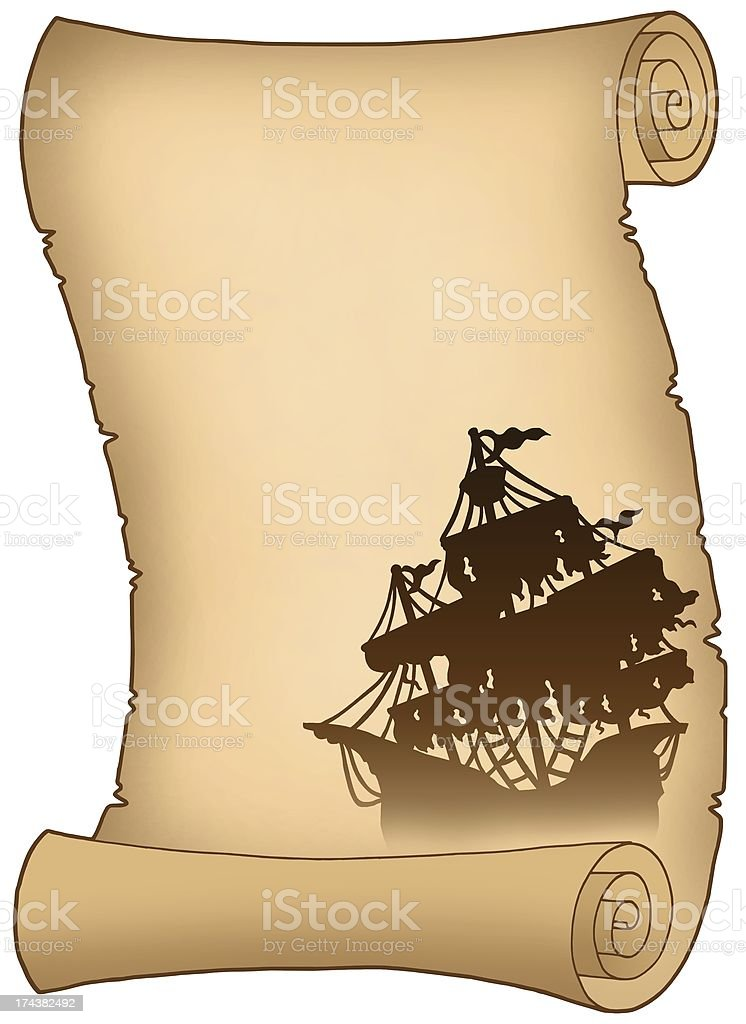 Old scroll with mysterious ship silhouette royalty-free stock photo