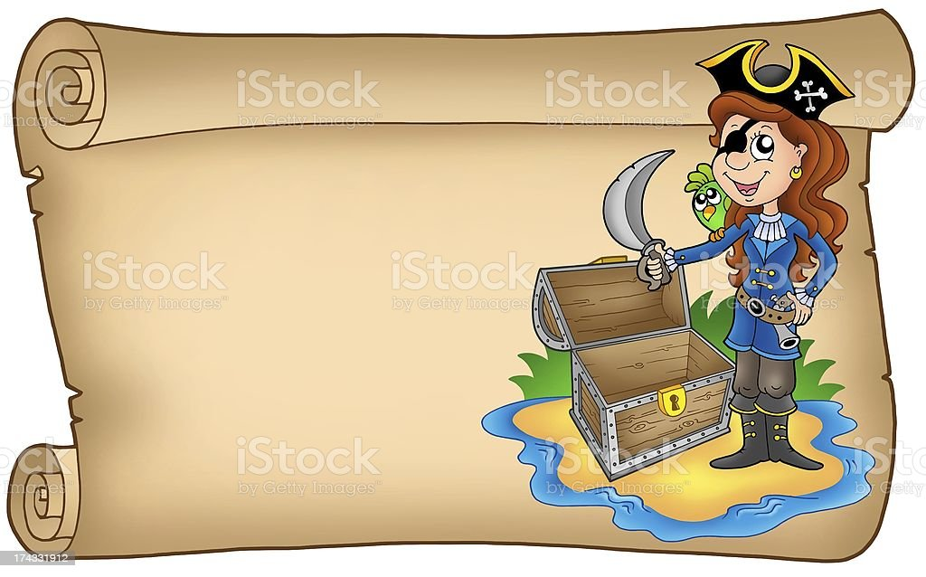 Old scroll with pirate girl royalty-free stock vector art